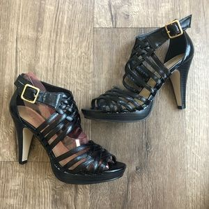 Madden Girl Black Ankle Strappy Leather Heels